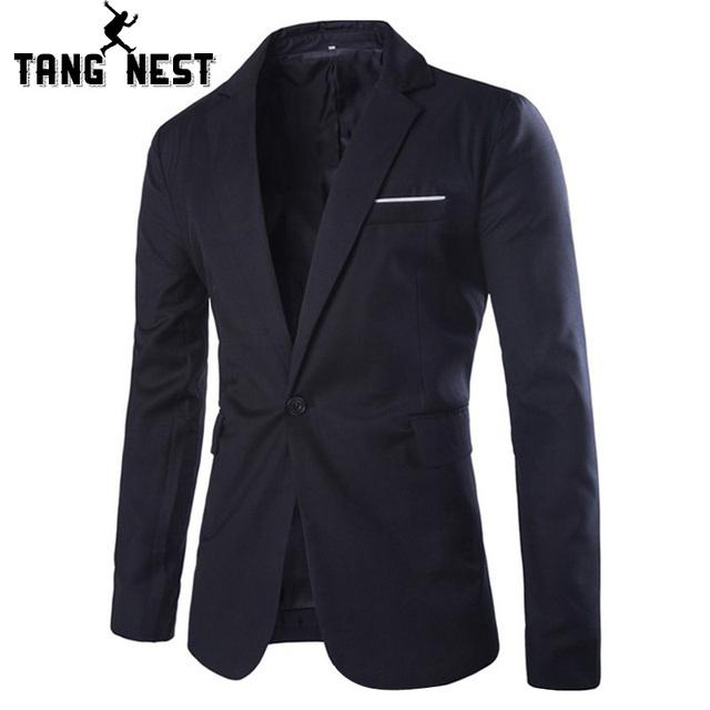Tangnest chaqueta ocasional 2017 nuevo diseño simple de los hombres blazer primavera y otoño caballero comercial tamaño asiático m-xxl trajes mwx308