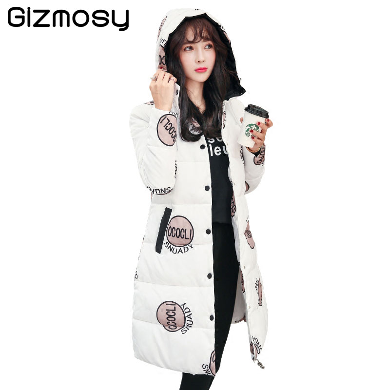 2017 New Winter Coat Women Slim Hooded Jackets Warm Outerwear Parkas Medium Long Clothing Print Thick Wadded Plus Size BN1277 women winter coat cotton wadded clothing zipper female hooded thick coats slim warm parkas pockets ladies outerwear plus size