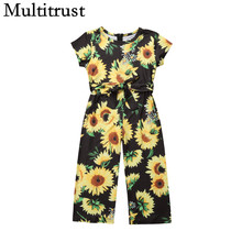 2018 Multitrust Marke Prinzessin Kinder Baby Mädchen Sunflower Strampler Floral Kurzarm Overall Overall Outfits Casual Flare Tuch(China)