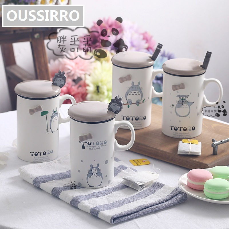 OUSSIRRO 370ml Lovely TOTORO Theme Milk / Coffee Mugs With Cover and Spoon Pure Color Mugs Cup Kitchen Tool Gift
