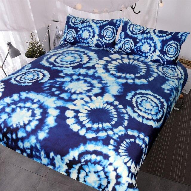 Blessliving 3 Pcs Blue Tie Dye Bedding Set Boho Indigo Bedspreads