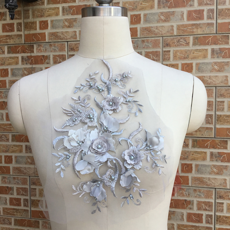 Cindylaceshow 1PC Multi 3D Flower Beaded Sewing Lace Appliques Lace Trim Wedding Fabric for Costume Dress Bridal Gown Decor DIY in Lace from Home Garden
