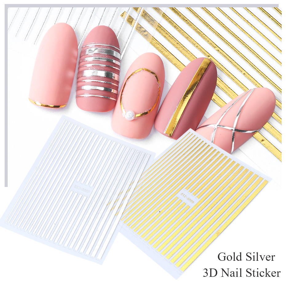 Image 2 - Gold 3D Nail Art Stickers Decals Geometric DIY Curve Stripes Line Foils for Nails Sticker Manicure Adhesive Tips CHSTZG001 013-in Stickers & Decals from Beauty & Health