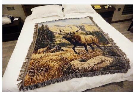 Élégant style rétro cerf multifonctionnel épaissir fil couverture 125x150 cm canapé serviette couverture couverture pour chaise tapis