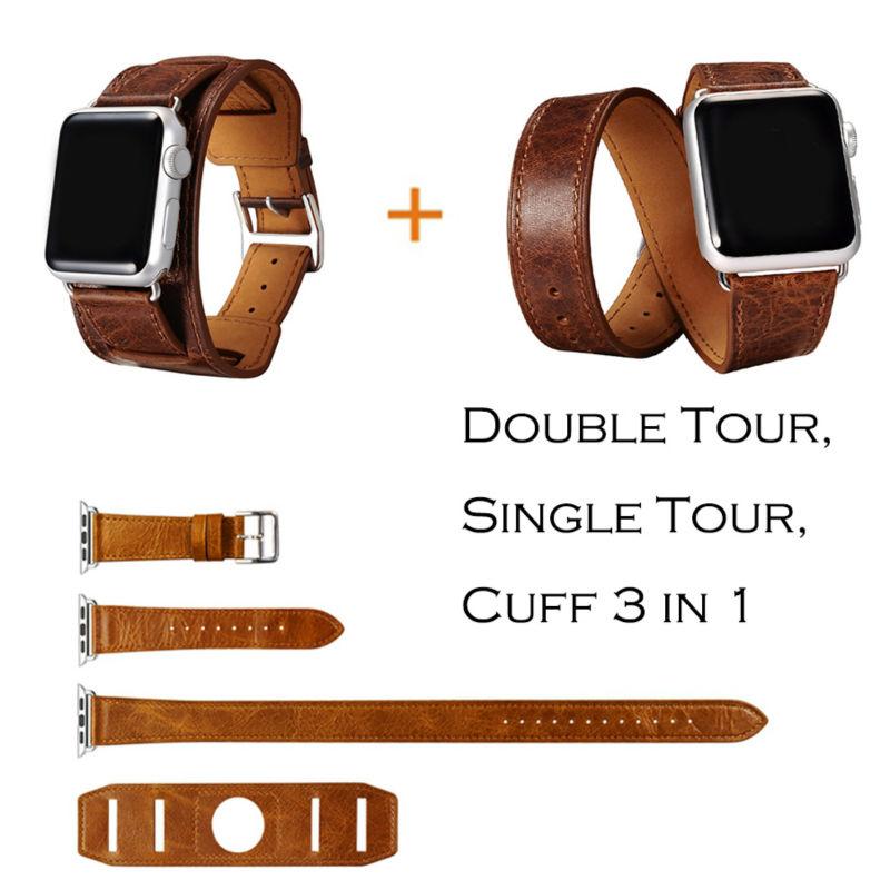 Prix pour URVOI Manchette Unique/Double Tour wraps pour apple watch bande extra-longue haute qualité véritable Vintage En Cuir boucle 3 types dans 1 set