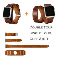 URVOI Cuff Single Double Tour Wraps For Apple Watch Extra Long Band High Quality Genuine Vintage