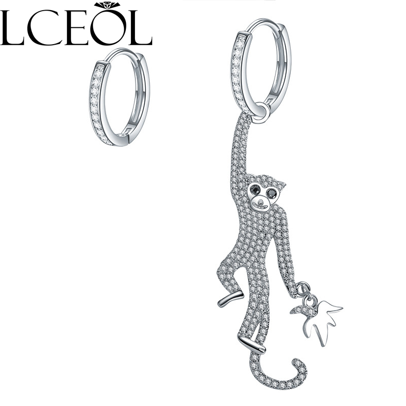 Jewelry & Accessories Provided Rhinestone Inlay Fashion New Animal Jewelry For Women Cute Crystal Monkey Earrings