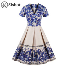 Sishot women vintage dresses 2017 autumn cotton blue floral pirnted dress color block v neck belt a line mid calf retro dress