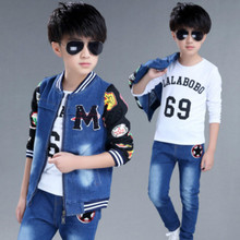 Children's sets 2019 spring new boys and girls cowboy suits cuhk fashion kids denim clothing sets baby clothes jean body suit new 2017 spring boys letter patch denim clothing sets 3pcs kids clothes sets baby boys denim suit kids jeans