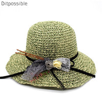 Ditpossible mixed color straw hats women summer sun hat outdoor headwear female beach cap panama
