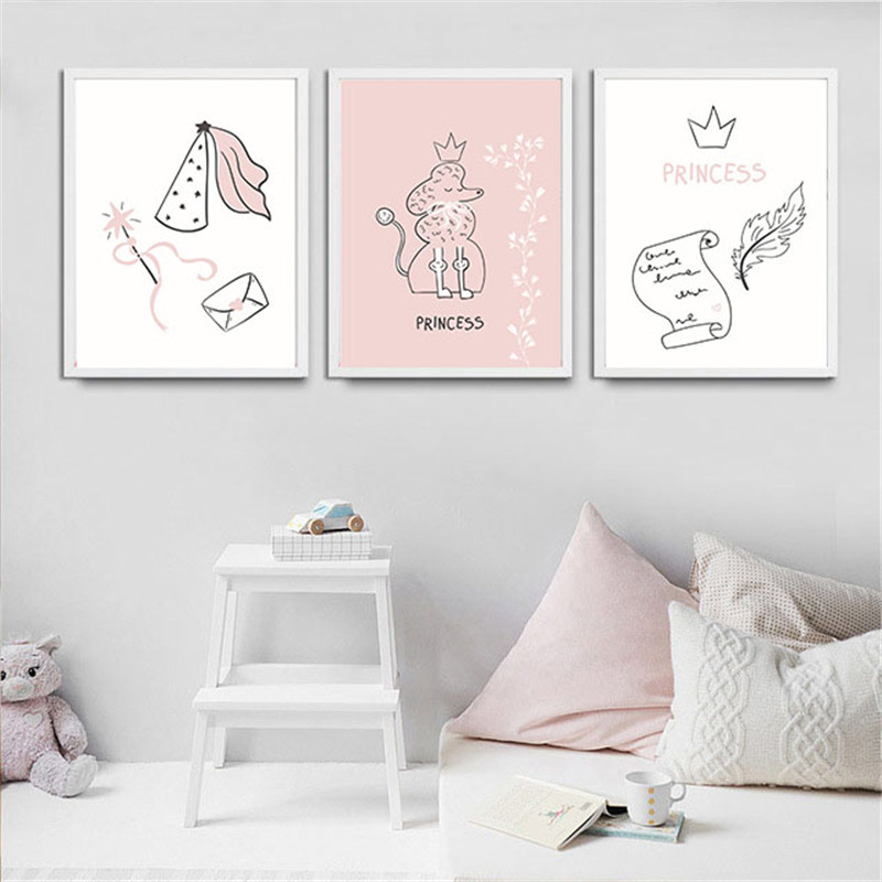 Little Girl Bedroom Art: Home Decor Nordic Canvas Painting Cartoon Cute Girl