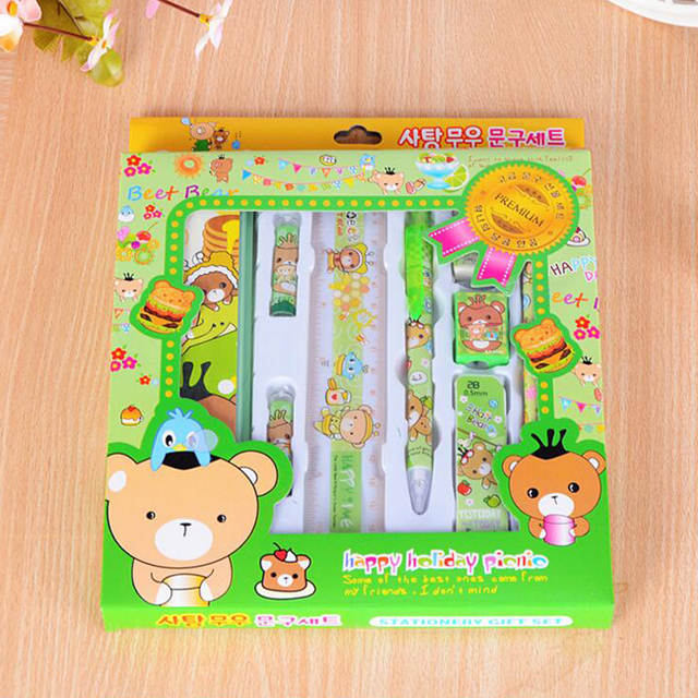 Christmas Stationery.Us 26 1 4 Sets Lot Multifunction Christmas Stationery Set Birthday Present Pencil Eraser Sharpener Cute Bear Gift Kids Student Supplies In