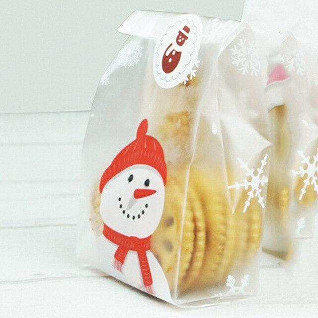 2018 50 PCS/pack Cadeaux De Noël Bonhomme De Neige Santa Claus Sac Titulaires Faire Des Biscuits Biscuit Bonbons Bijoux En Plastique Emballage Sacs