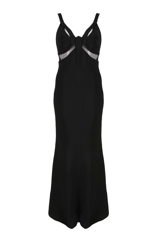 Top Élégant V Sexy Noir Dames Bandage Qualité Tricoté Maxi Cou Parti Robe 2018 Designer Longue CCBxqfn7wr