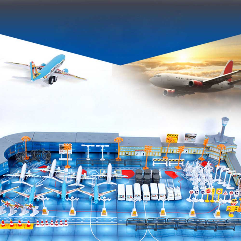 Simulation Airport Scene Toy Set Aircraft Model Simulation Set Children Play House Toys Model Airport Assembled EducationalToy