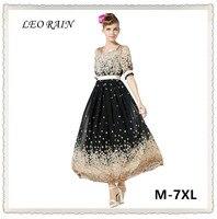 M 7XL Plus Size New Bohemian Style Print Chiffon Sleeve Round Neck Dress