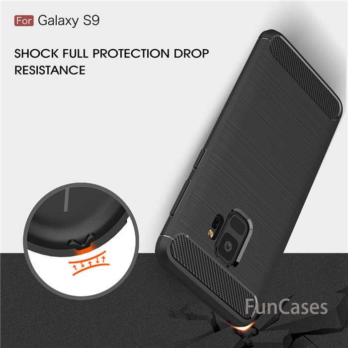 Pour Samsung Galaxy S6 Bord S7 S8 S9 plus Note 8 En Fiber De Carbone TPU Étui Souple Pour A3 A5 A7 2017 J3 J5 J7 2016 J4 J6 J8 2018 A6 Plus
