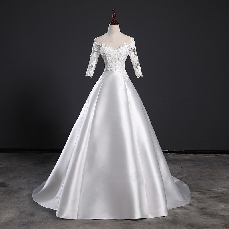 Detail Feedback Questions about Vivian s Bridal 2018 Vintage Satin Face  Lace Appliques Wedding Dress Half Sleeve Backless Lace up Illusion Mesh  Bridal Dress ... a8556b6e7100