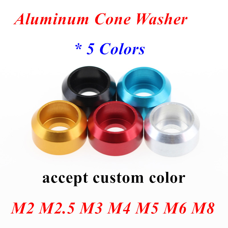 10pcs M2 M2.5 M3 M4 M5 M6 M8 Aluminum ally cup head cone washer Crown Type washer gasket shim anodized red black gold blue alu(China)