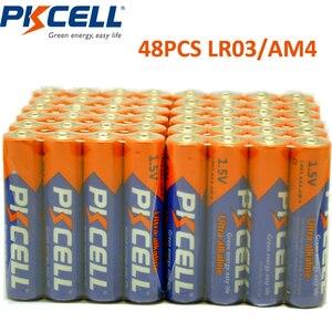 Image 1 - 48 X PKCELL LR03 1.5 V بطارية AAA قلوية البطاريات الجافة E92 AM4 MN2400 MX2400 1.5 فولت AAA بطارية 3A bateria Baterias