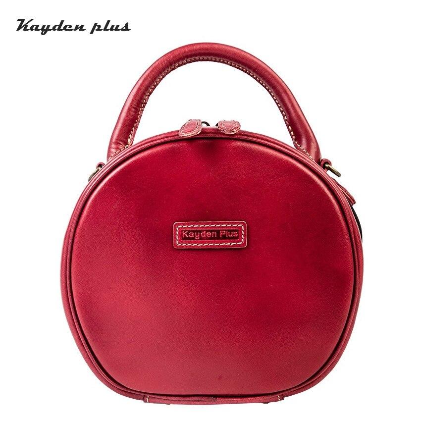 New Genuine Leather Mini Round Handbag For Girls Women Weeding Handbag Women Small Female Zipper Bag Messenger Bag Gift