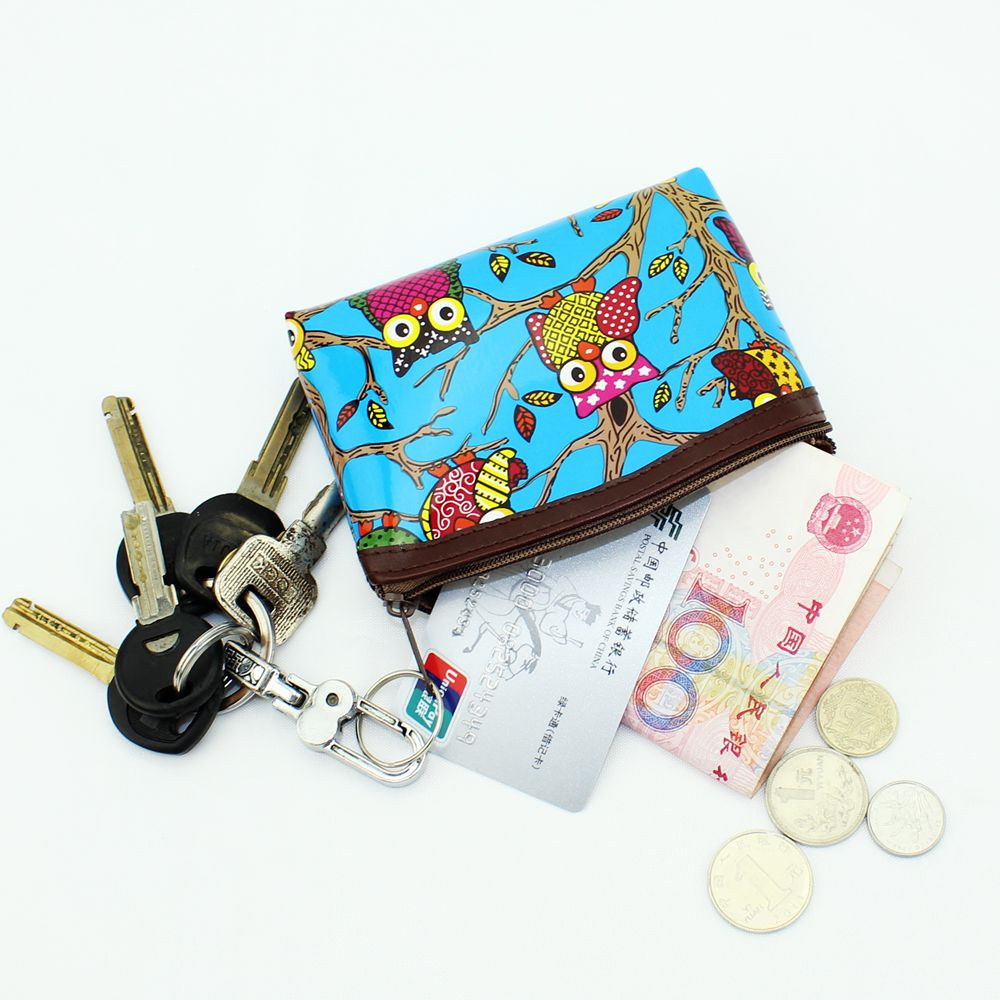 Cute Owl graffiti Women coin purses Patent leather wallet change purse Ladies clutch zipper coins bag Female money Pouch handbag