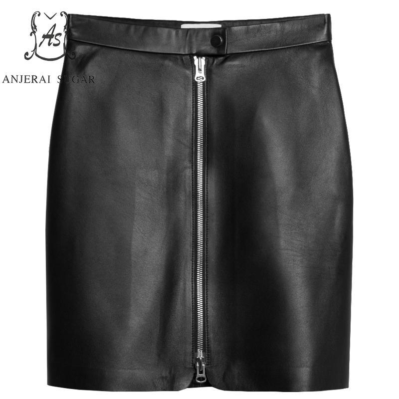 Zipper Haute Peau Hanche Courte Cuir Sexy De Printemps Mouton Paquet Automne Nouvelles En Jupe Taille Véritable Femmes Femelle Noir Mini Mince q6O1H