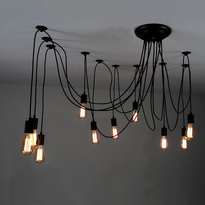 Modern Nordic Retro Edison Bulb Light Chandelier Vintage Loft Antique Adjustable DIY E27 Art Spider Ceiling Lamp Fixture Light nordic vintage chandelier lamp pendant lamps e27 e26 edison creative loft art decorative chandelier light chandeliers ceiling