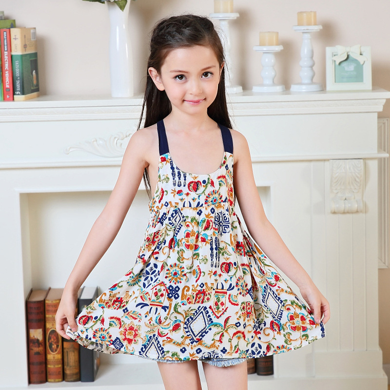 Girl Dress Princess Tutu Colorful Children Summer Strap -5769