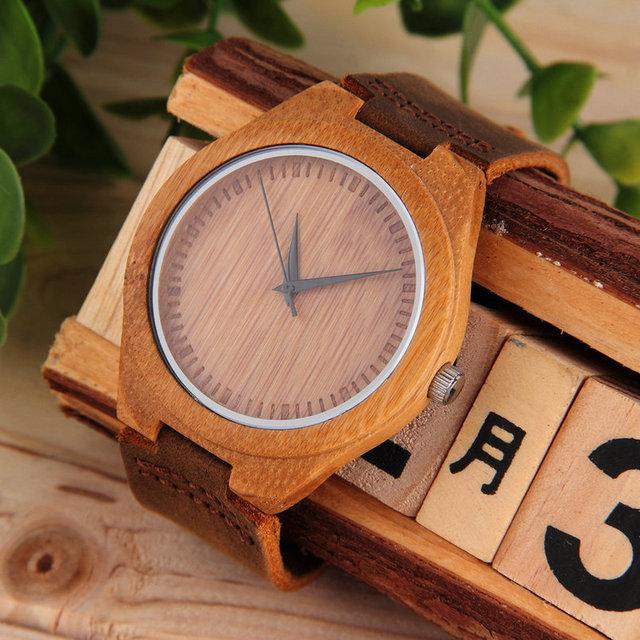 Los Hombres de lujo de Madera De Bambú de Las Mujeres Reloj de Cuarzo Relojes de Pulsera de Cuero de LA PU Nueva Venta Caliente