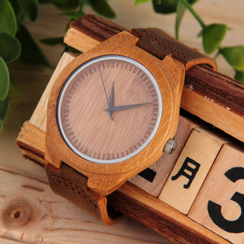 Luxury Men's Women's Bamboo Wood Watch Quartz PU Leather Wristwatches New Hot Selling
