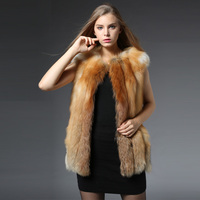 2017 Winter New Real Red Fox Fur Vest For Women Genuine Fox Fur Waistcoat Natural Fox Fur Sleeveless Outwear