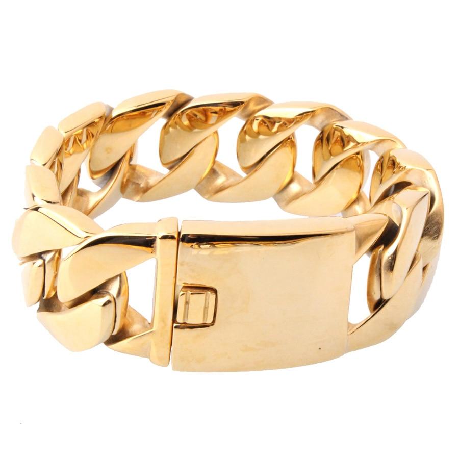 Bracelet en acier inoxydable 316L poli de 26mm 21.5 cm pour hommes couleur or gourmette lien cubain unisexe bijoux pour hommes