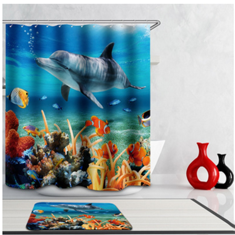 Hot Sale 3D Blue Polyester Waterproof PVC Underwater World Tropical Fish Shower Curtains Bath Screens Bathroom Tools