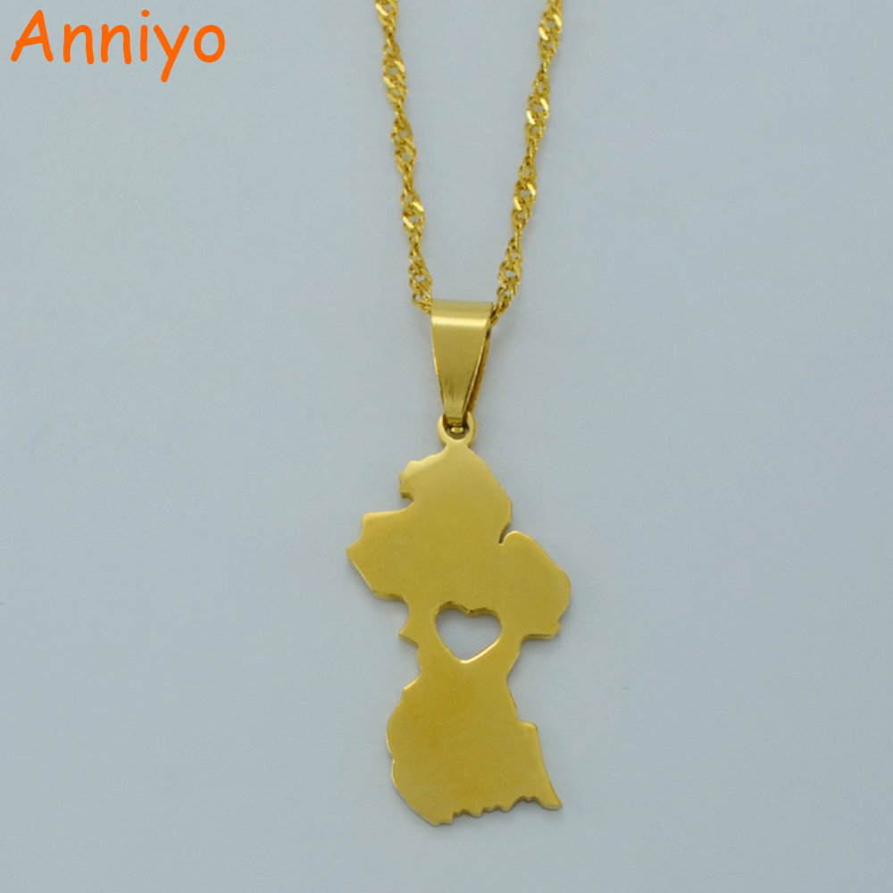 Anniyo Map of Guyana Pendant Necklace Women/Men Gold Color Guayana Jewelry Republic of Guyana #006221
