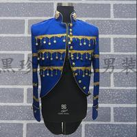 Navy Blue Tuxedo Blazers Men Suits Designs Male Costumes Masculino Homme Terno Stage Costumes For Singers