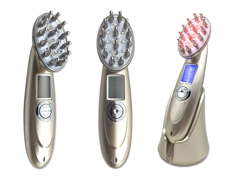 RF EMS Nurse LED Photon Laser Anti Hair Loss Treatment Comb, Scalp Massage Hair Regrowth Microcurrent comb Brush green sandalwood combed wooden head neck mammary gland meridian lymphatic massage comb wide teeth comb