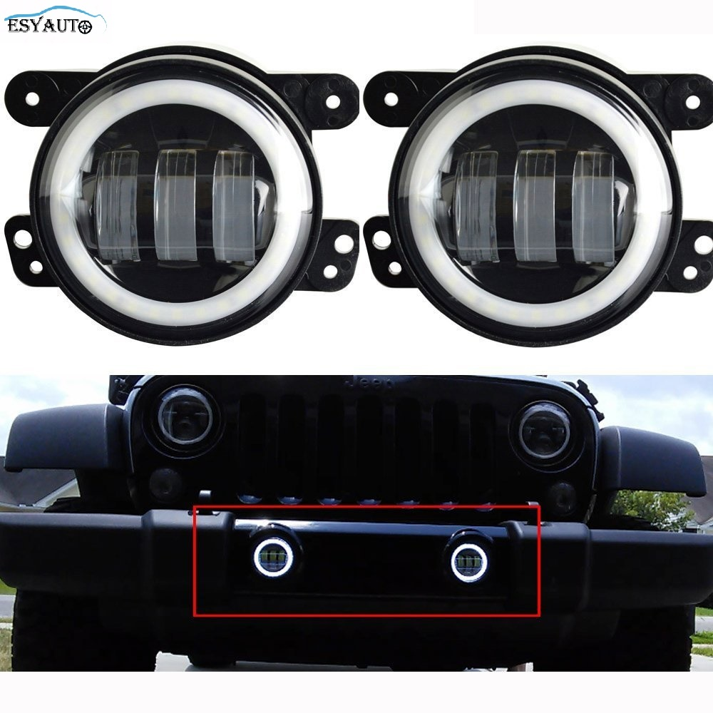 Black 4 in. Projector LED Auxiliary Lamps LED Angel eyes Halo Ring White DRL Fog Lights+Headlights For Jeep Wrangler TJ