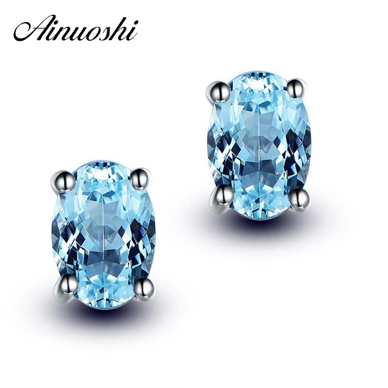 AINUOSHI 3 Carat Stud Earring Pure 925 Silver Natural Sky Blue Topaz Earrings Prong Setting Oval Cut Gemstone Accessory Gifts комплект колье серьги slava zaitsev комплект колье серьги page 6