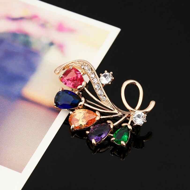 LYIYUNQ Wanita Broche Bros Multicolor Batu Alam Logam Antik Bunga Bros Untuk Wanita Trendy Lapel Pin Syal Aksesoris