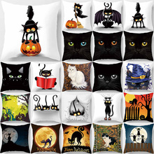 Halloween funny cute cats pillow case two sides print  pattern square pillow cases  flower  cat pattern pillow cover 60*60cm fashionable leopard print cats pattern cotton and linen pillow case(without pillow inner)