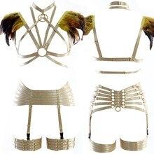 Feathers Shoulder Epaulettes Full Body Harness Bra Set Harajuku Strappy Cage wings burning man Festival Rave Women Plus Size