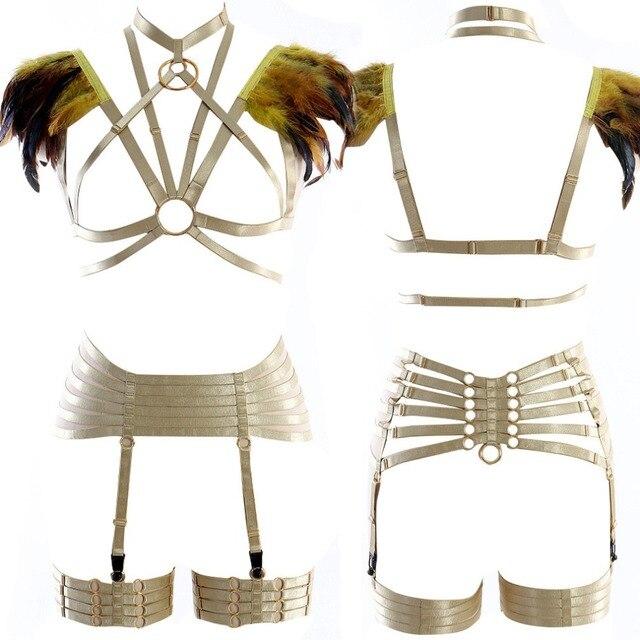 נוצות כתף כותפות מלא גוף רתם חזיית סט Harajuku כלוב רצועות כנפי שריפת איש פסטיבל רווה נשים בתוספת גודל