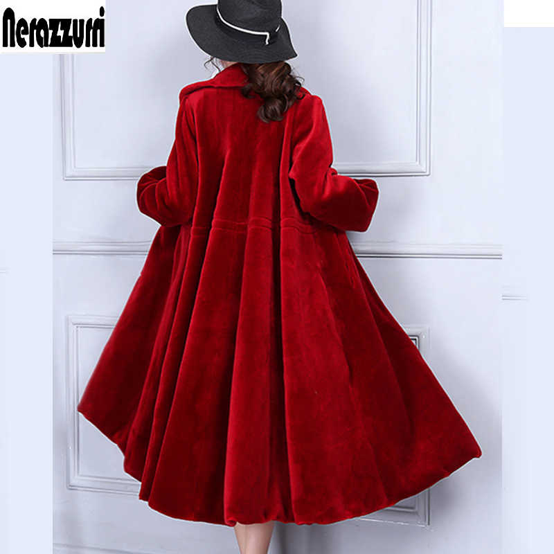 Nerazzurri natural shearling coats women colored real fur coat plus size sheepskin jacket luxury full skirt lamb fur overcoat