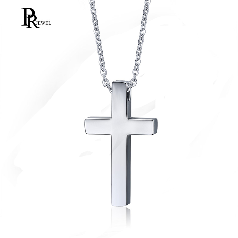 "Men Women Silver Cross Pendant Necklace Stainless Steel Chain Prayer Christ 20/"""
