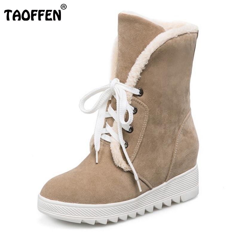 TAOFFEN Russia Women Round Toe Flat Mid Calf Boots Woman Lace Up Shoes Female Warm Thickened Fur Winter Half Botas Size 34-43 winter women boots basic fashion round toe comfortable flat shoes female footwear mid calf warm boots popular wholesale dgt674