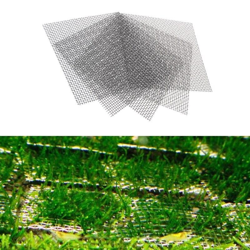 Aquarium Fish Tank Stainless Steel Wire Mesh Pad Plants Moss Net Decor 8x8cm New
