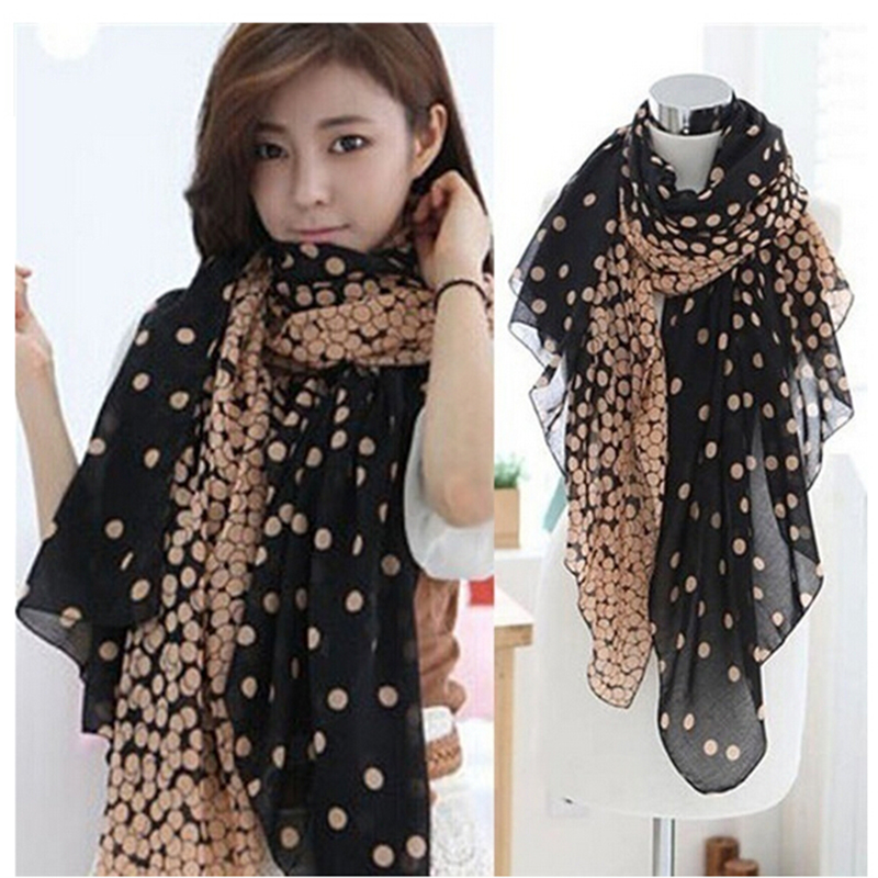 Cute Polka Dot Women Scarf Autumn Warm Soft Long Voile Neck Large Shawl New Fashion Stole Pink Grey Scarve 166*60cm