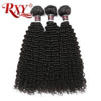 RXY Brazilian Hair Bundles Afro Kinky Curly Hair Weave Bundles Double Weft Extensions 100% Human Hair Bundles 1/3pcs Non Remy