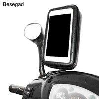 Besegad 360 회전 오토바이 전화 핸들 막대 방수 지퍼 가방 삼성 갤럭시 참고 5 GPS